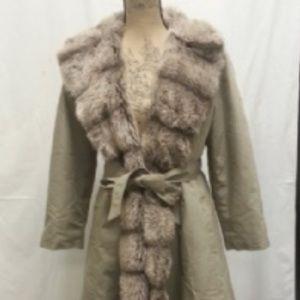 Jackets & Blazers - Khaki Faux Fox Fur Trench ILGWU Label. Size Medium